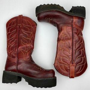 John Fluevog Platform Red Leather Boots